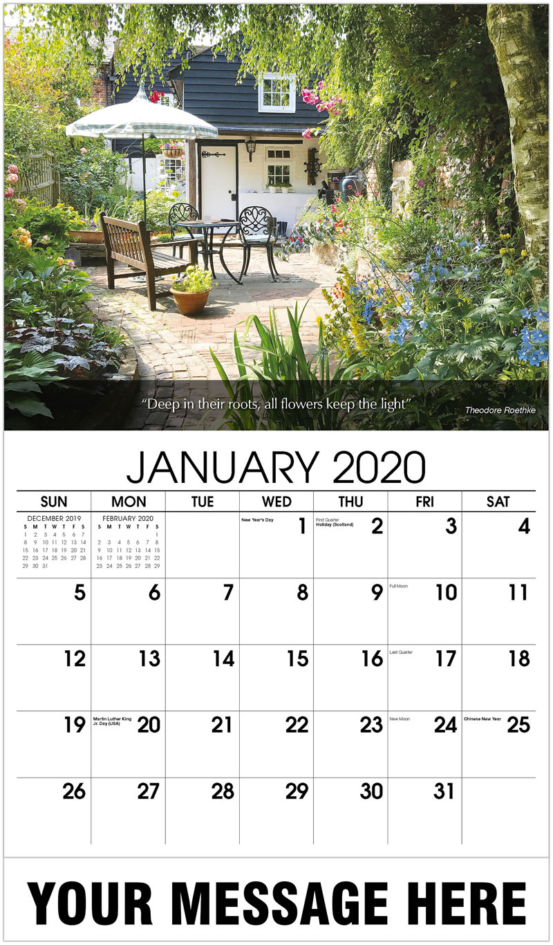 2020 Promo Calendar - An English Cottage Garden - January