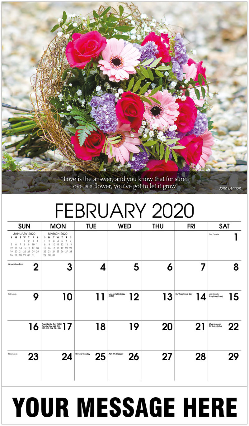 2020 Promo Calendar - Bouquet Of Colourful Flowers - February