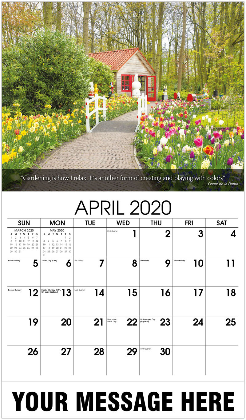 2020 Promotional Calendar - Beautiful Spring Flowers - April