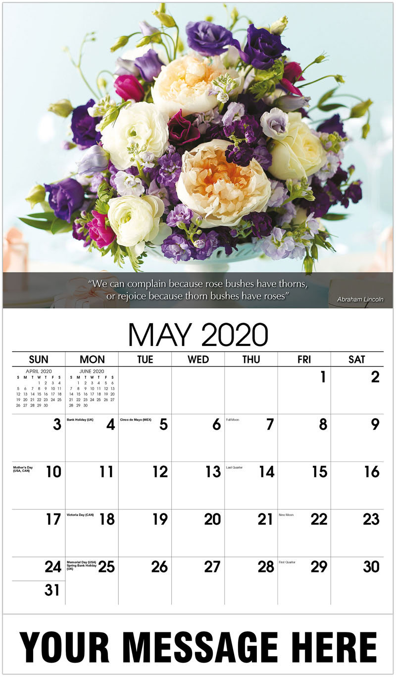 2020 Promotional Calendar - Wedding Table Setting - May