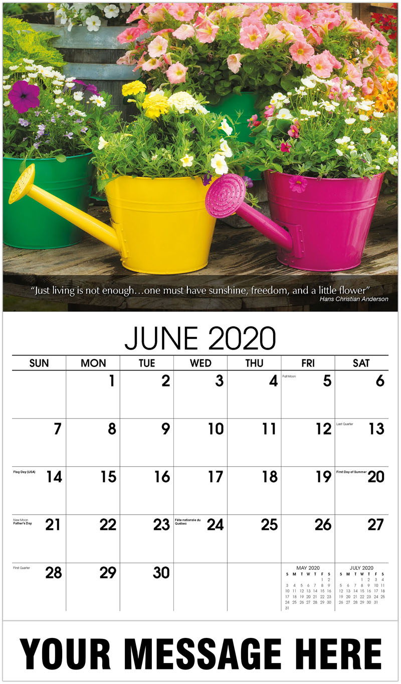 2020 Promotional Calendar - Flower Variety Growing In Watering Can - June