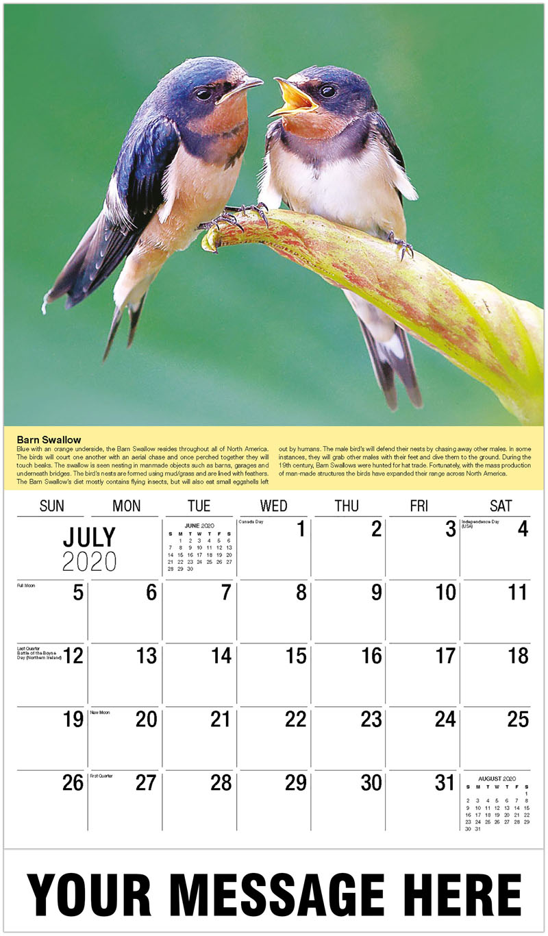 2020 Business Advertising Calendar - Rose-Breasted Grosbeak - July