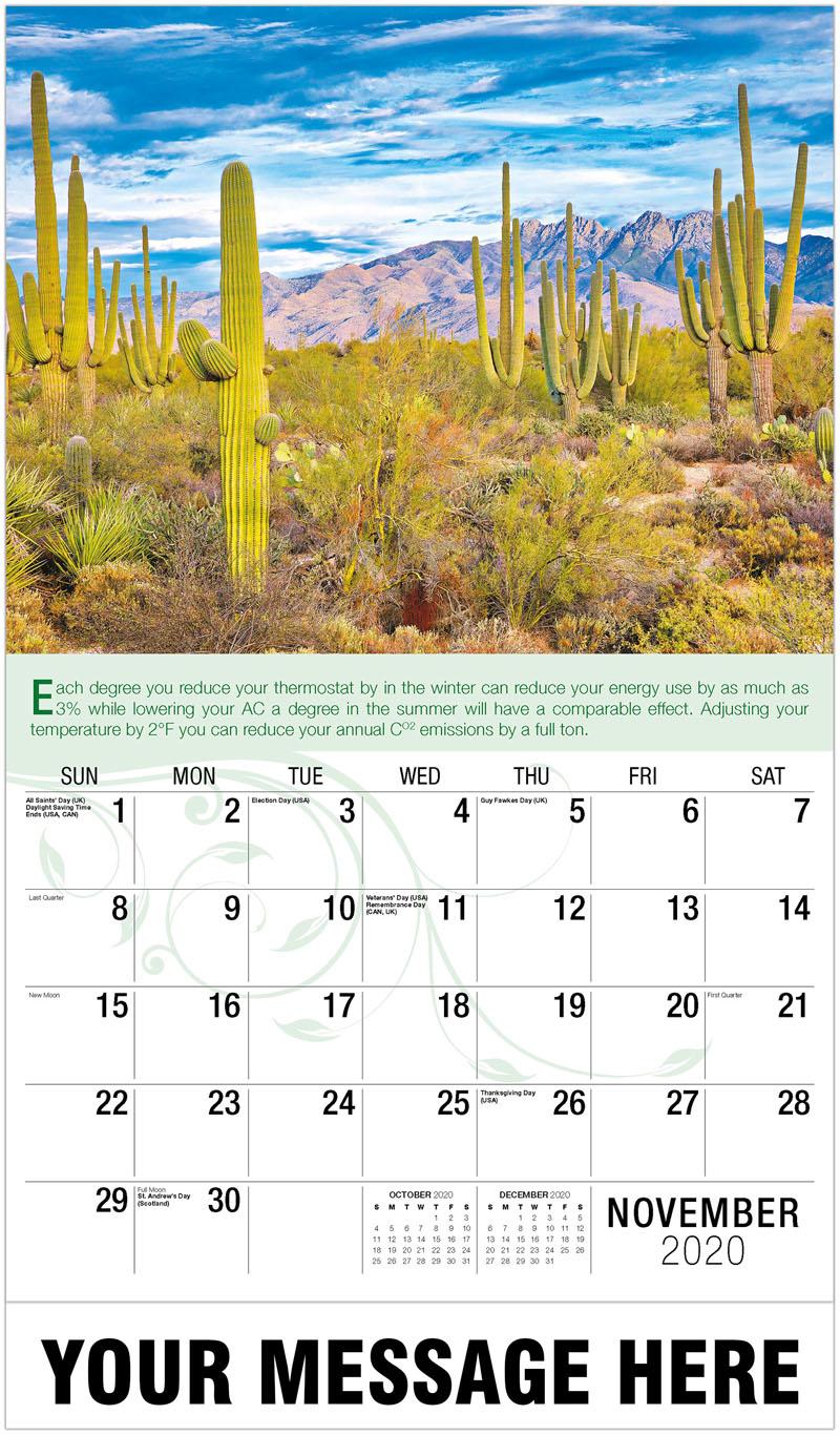 2020 Advertising Calendar - Desert Cactus - November