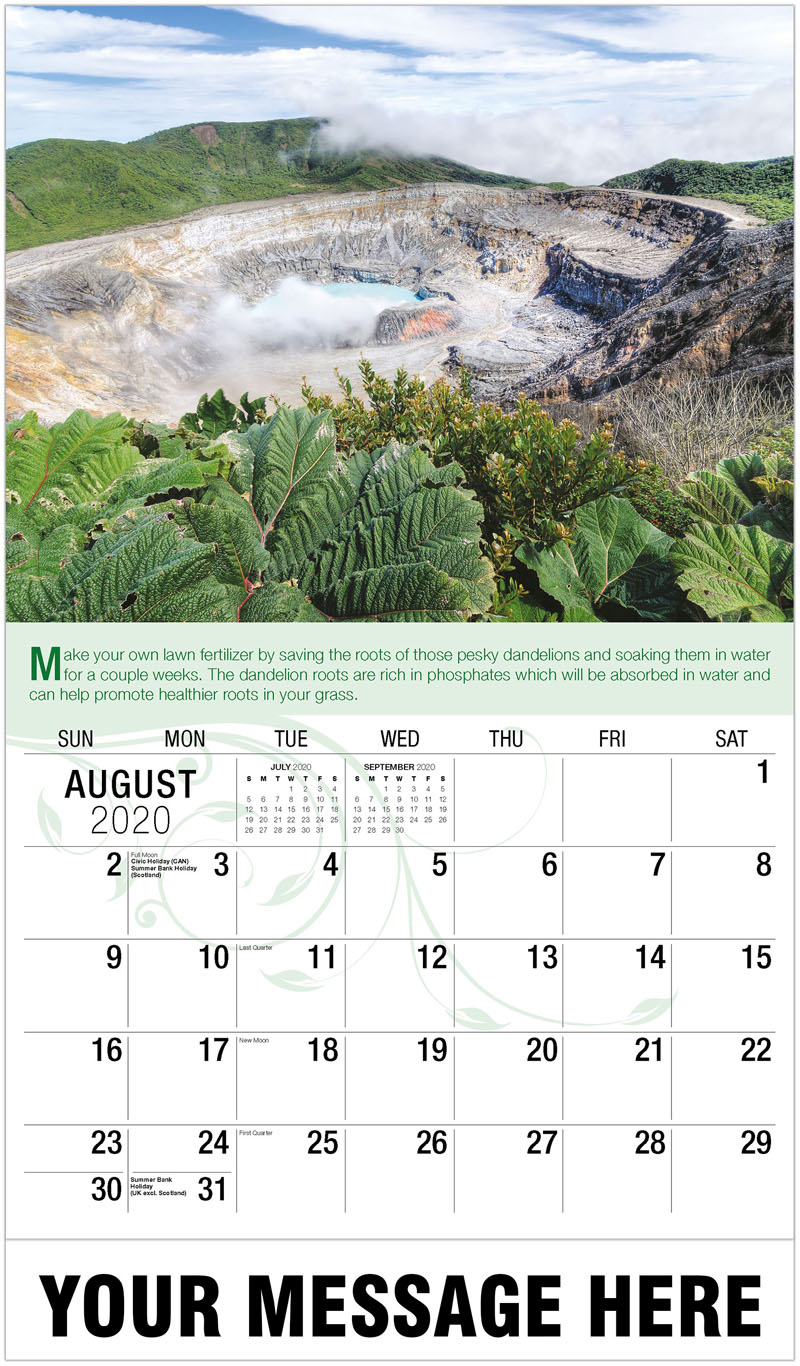 2020 Business Advertising Calendar - Volcano Crater - August