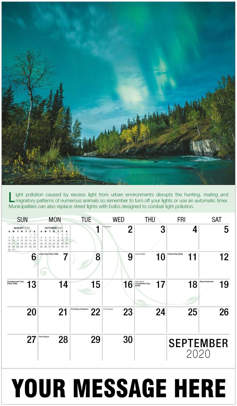 2020 Business Advertising Calendar - Northern Lights - September