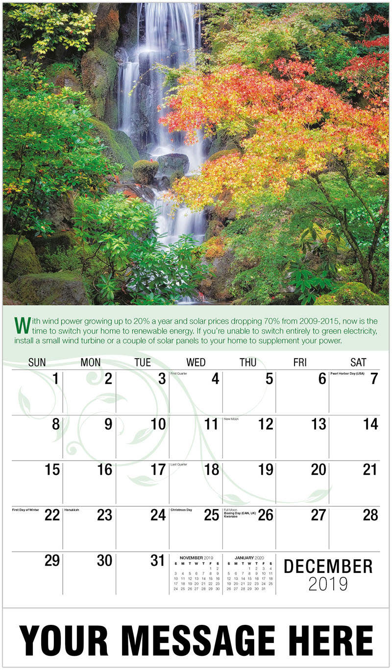 2020 Promo Calendar - Waterfall With Coloful Tree - December_2019
