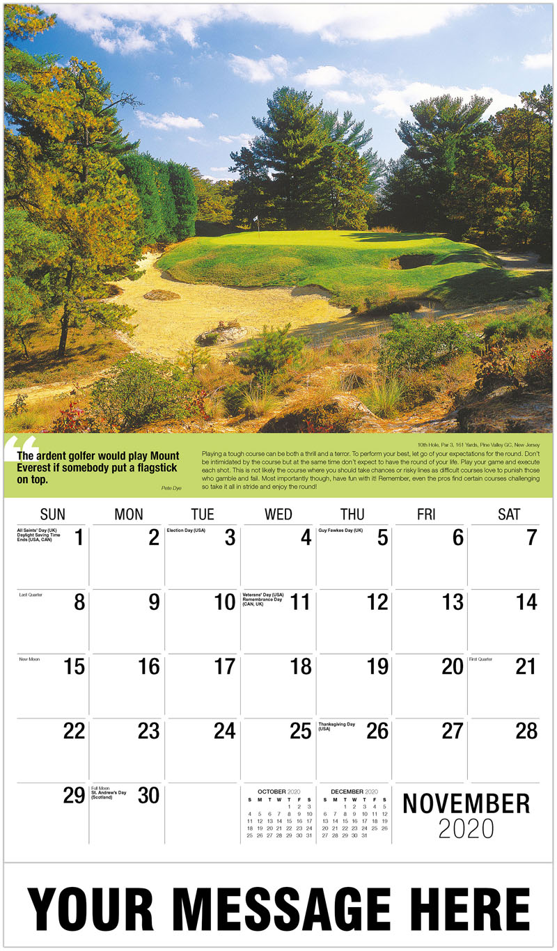 2020 Advertising Calendar - 7Th Hole, Par 3, 133 Yards, Four Seasons Resort Golf Course, Costa Rica : 7Th Hole, Par 3, 133 Yards, Four Seasons Resort Golf Course, Costa Rica - November