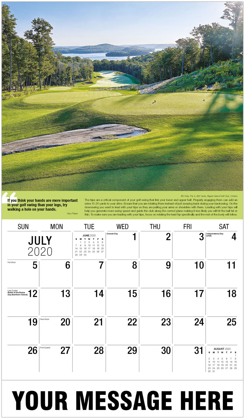 2020 Business Advertising Calendar - 17Th Hole, Par 4, 331 Yards, Cabot Cliffs Golf Course, Nova Scotia : 17Th Hole, Par 4, 331 Yards, Cabot Cliffs Golf Course, Nova Scotia - July