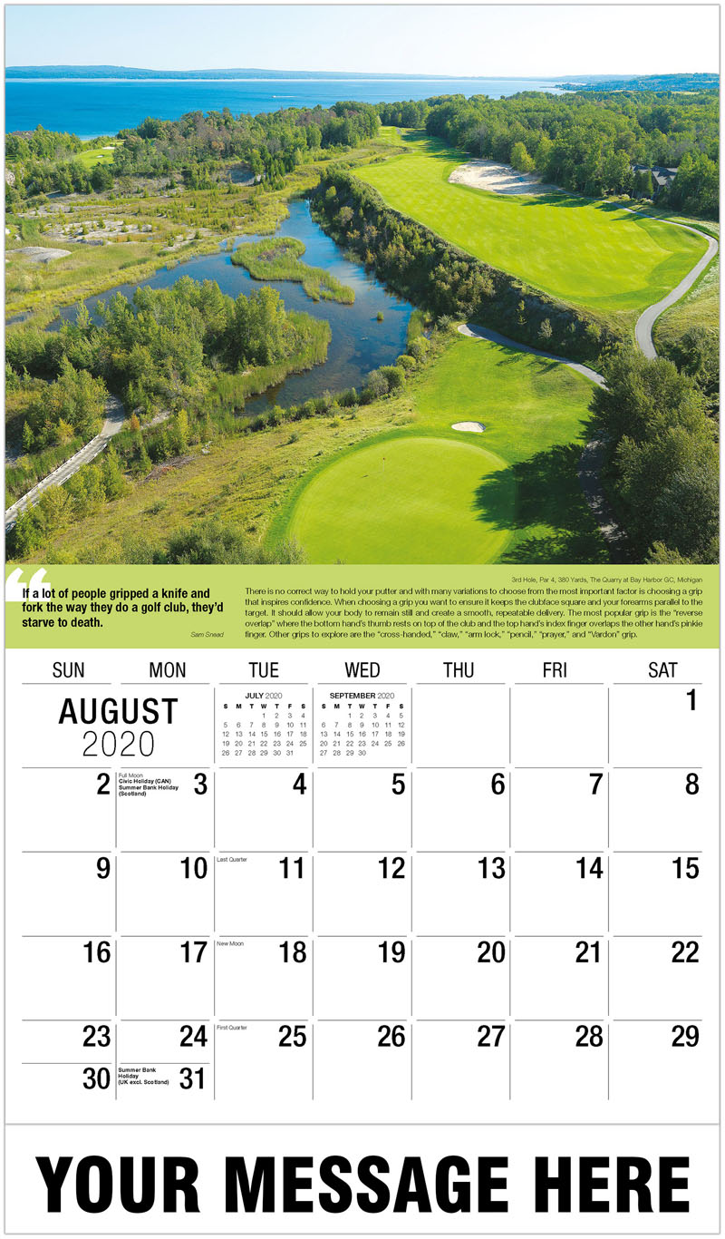 2020 Business Advertising Calendar - 7Th Hole, Par 4, 363 Yards, Fishers Island Club, New York : 7Th Hole, Par 4, 363 Yards, Fishers Island Club, New York - August