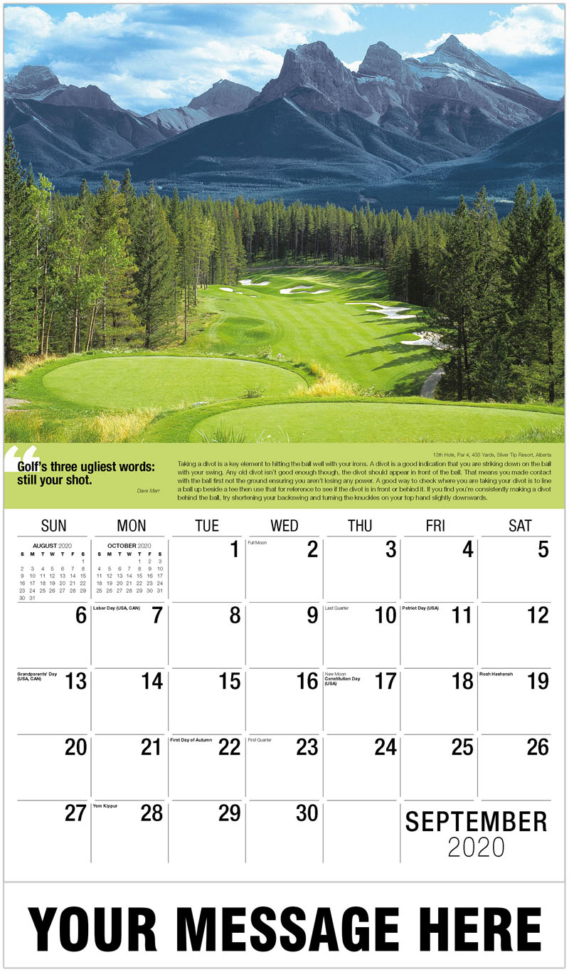 2020 Business Advertising Calendar - 17Th Hole, Par 3, 194 Yards, Waterville Golf Links, Ireland : 17Th Hole, Par 3, 194 Yards, Waterville Golf Links, Ireland - September
