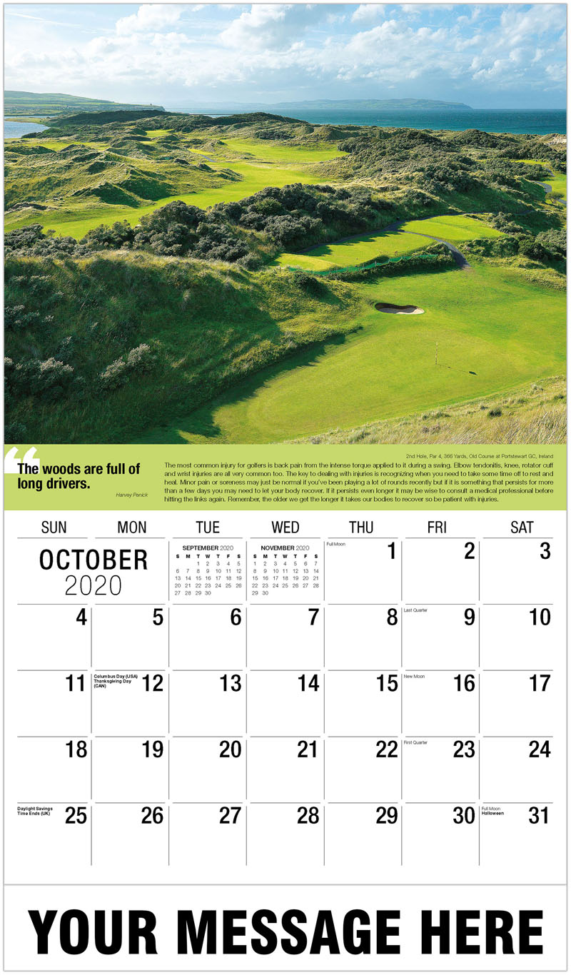 2020 Business Advertising Calendar - 15Th Hole, Par 4, 435 Yards, Springhill Golf Club, Minnesota : 15Th Hole, Par 4, 435 Yards, Springhill Golf Club, Minnesota - October