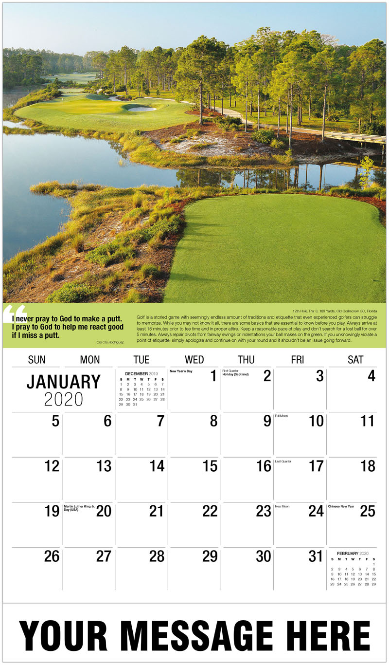 2020 Promo Calendar - 11Th Hole, Par 3, 213 Yards, Jack'S Point Golf Course, New Zealand : 11Th Hole, Par 3, 213 Yards, Jack'S Point Golf Course, New Zealand - January
