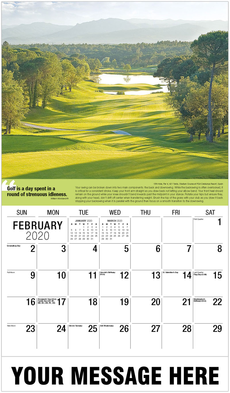 2020 Promo Calendar - 9Th Hole, Par 3, 147 Yards, Mizner Country Club, Florida : 9Th Hole, Par 3, 147 Yards, Mizner Country Club, Florida - February