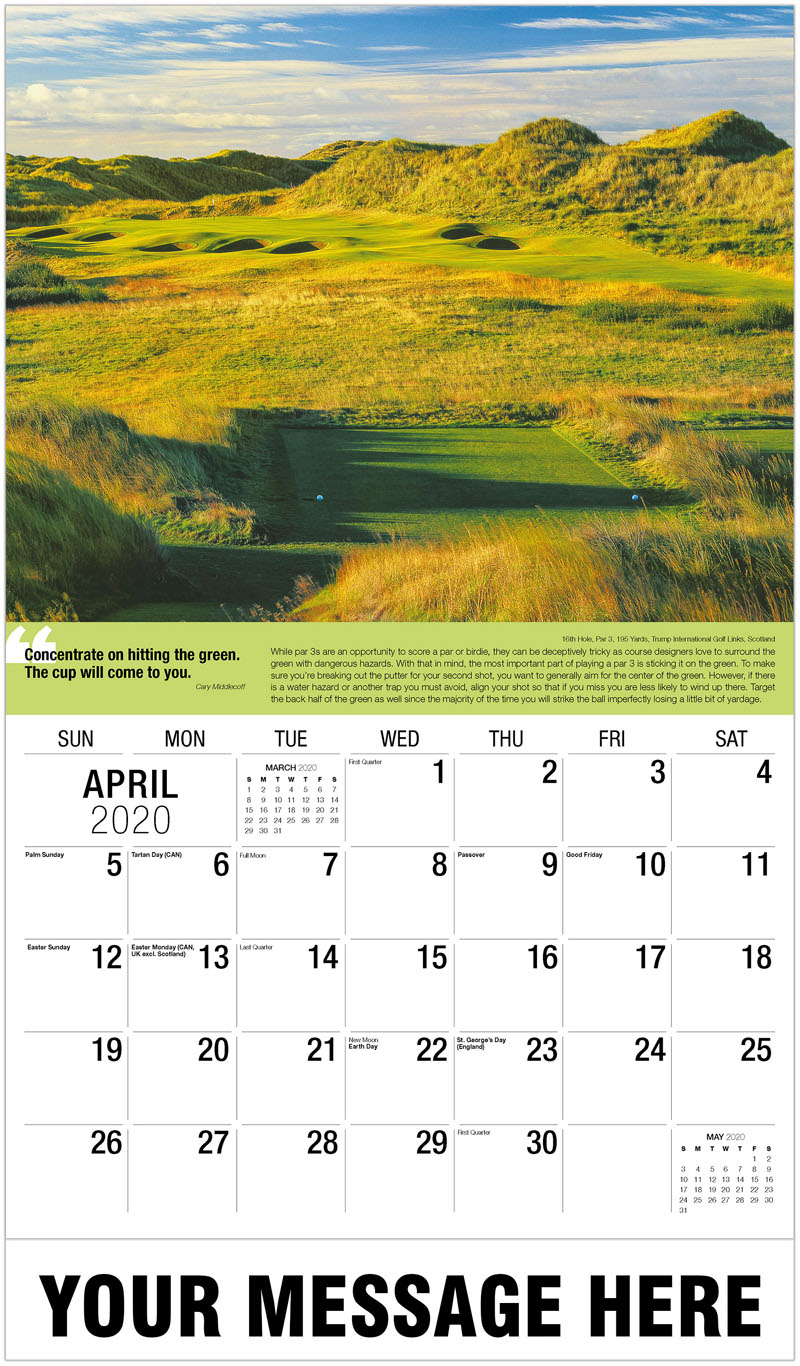 2020 Promotional Calendar - 11Th Hole, Par 3, 187 Yards, Bear Course At Okanagan Golf Club : 11Th Hole, Par 3, 187 Yards, Bear Course At Okanagan Golf Club - April