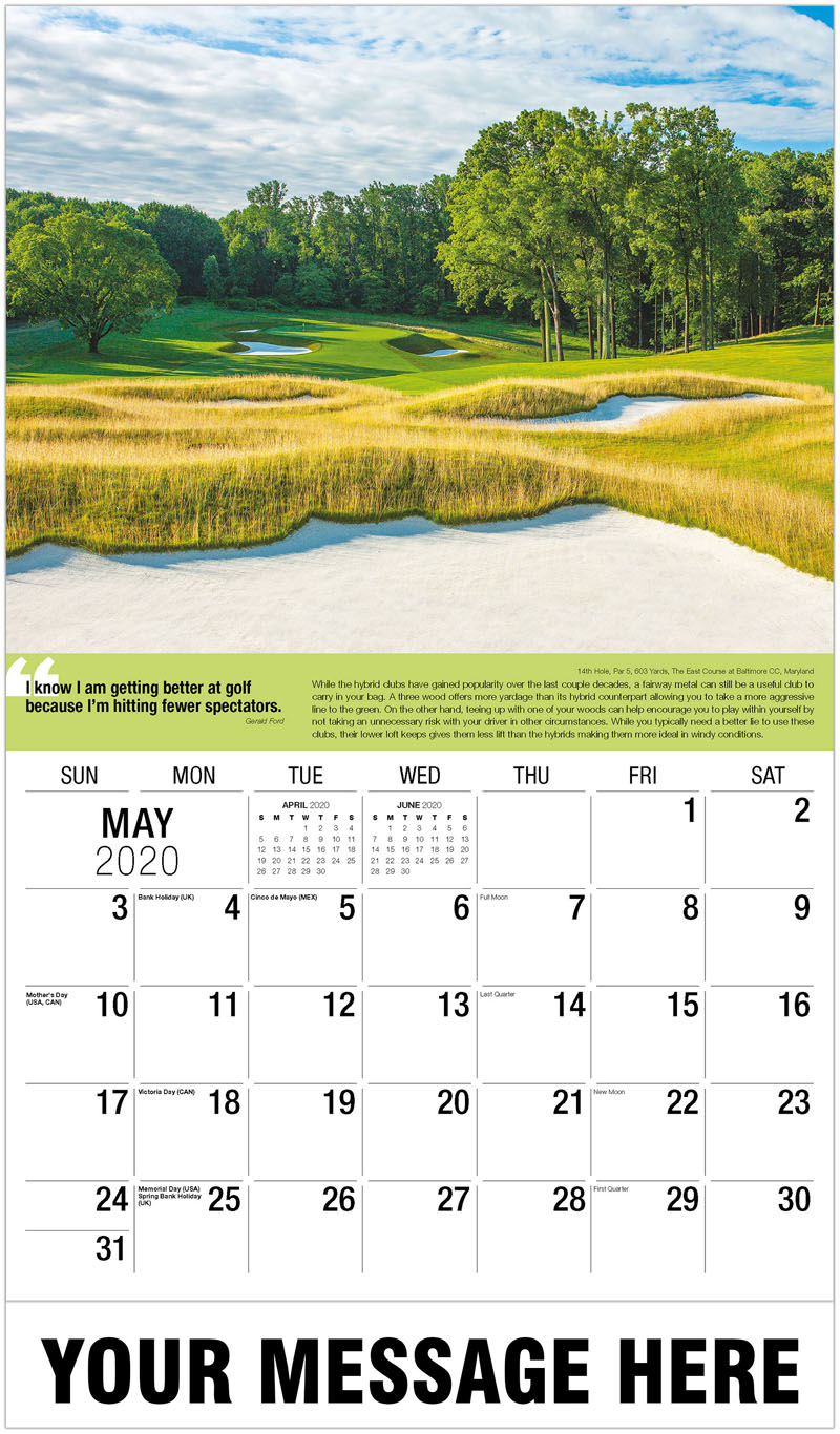 2020 Promotional Calendar - 3Rd Hole, Par 4, 350 Yards, Blue Lakes Country Club, Idaho : 3Rd Hole, Par 4, 350 Yards, Blue Lakes Country Club, Idaho - May