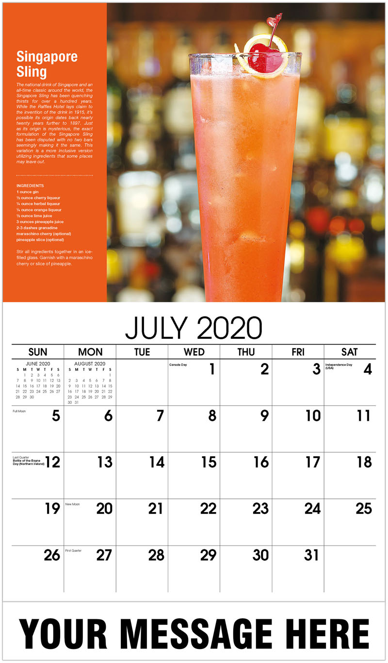2020 Business Advertising Calendar - Singapore Sling - July