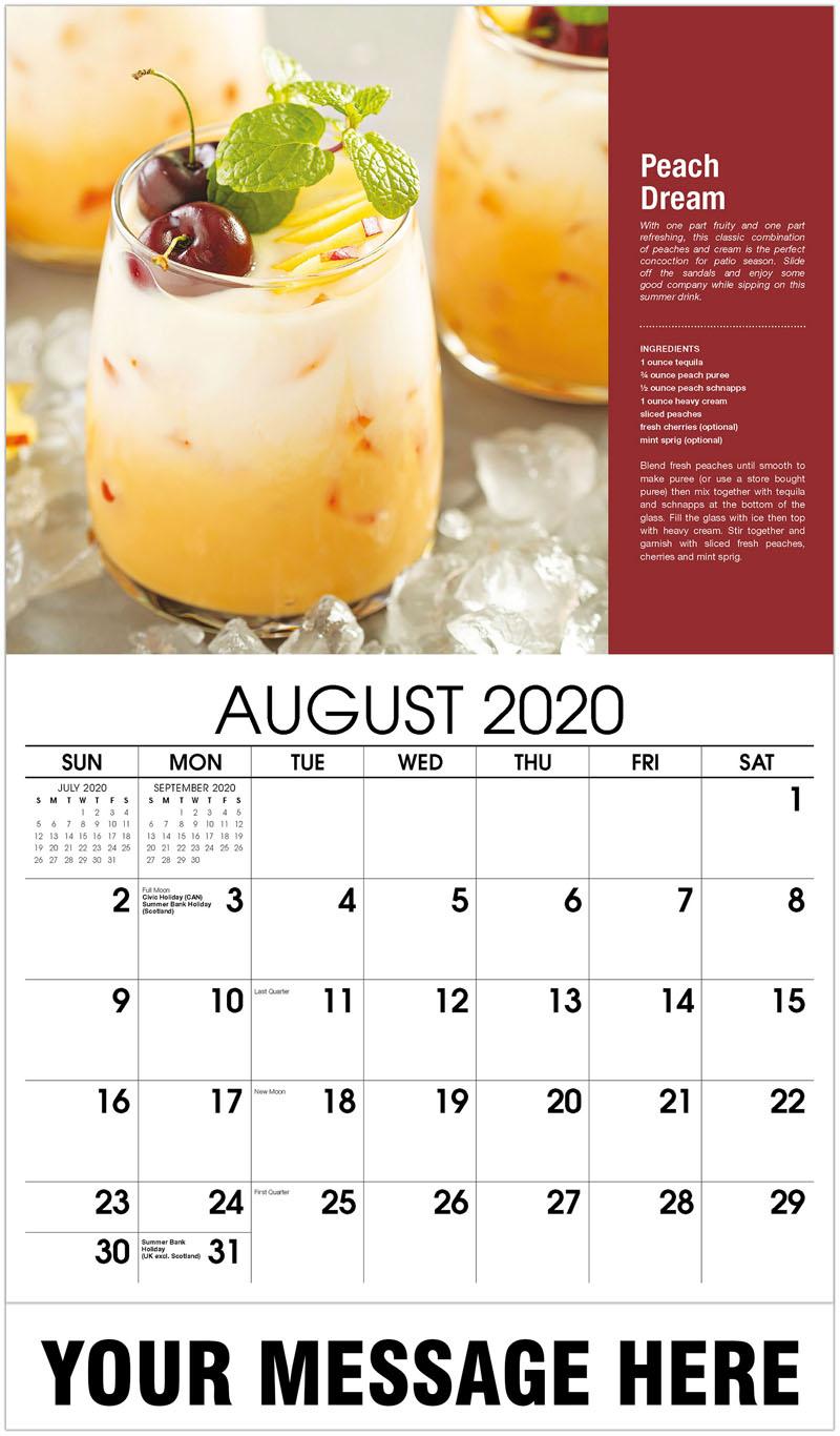 2020 Business Advertising Calendar - Peach Dream - August