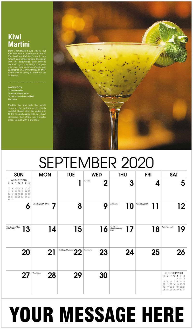 2020 Business Advertising Calendar - Kiwi Martini - September