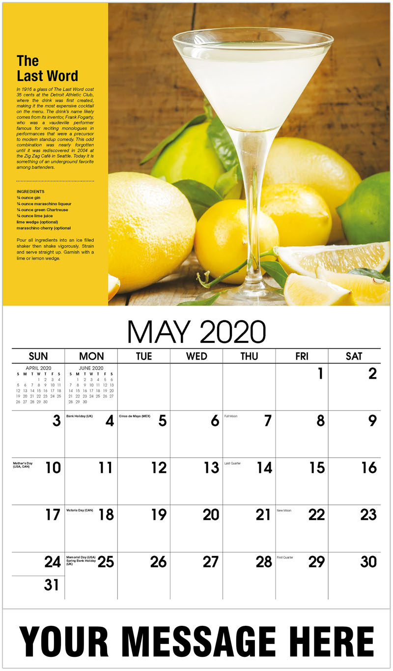 2020 Promo Calendar - The Last Word - May