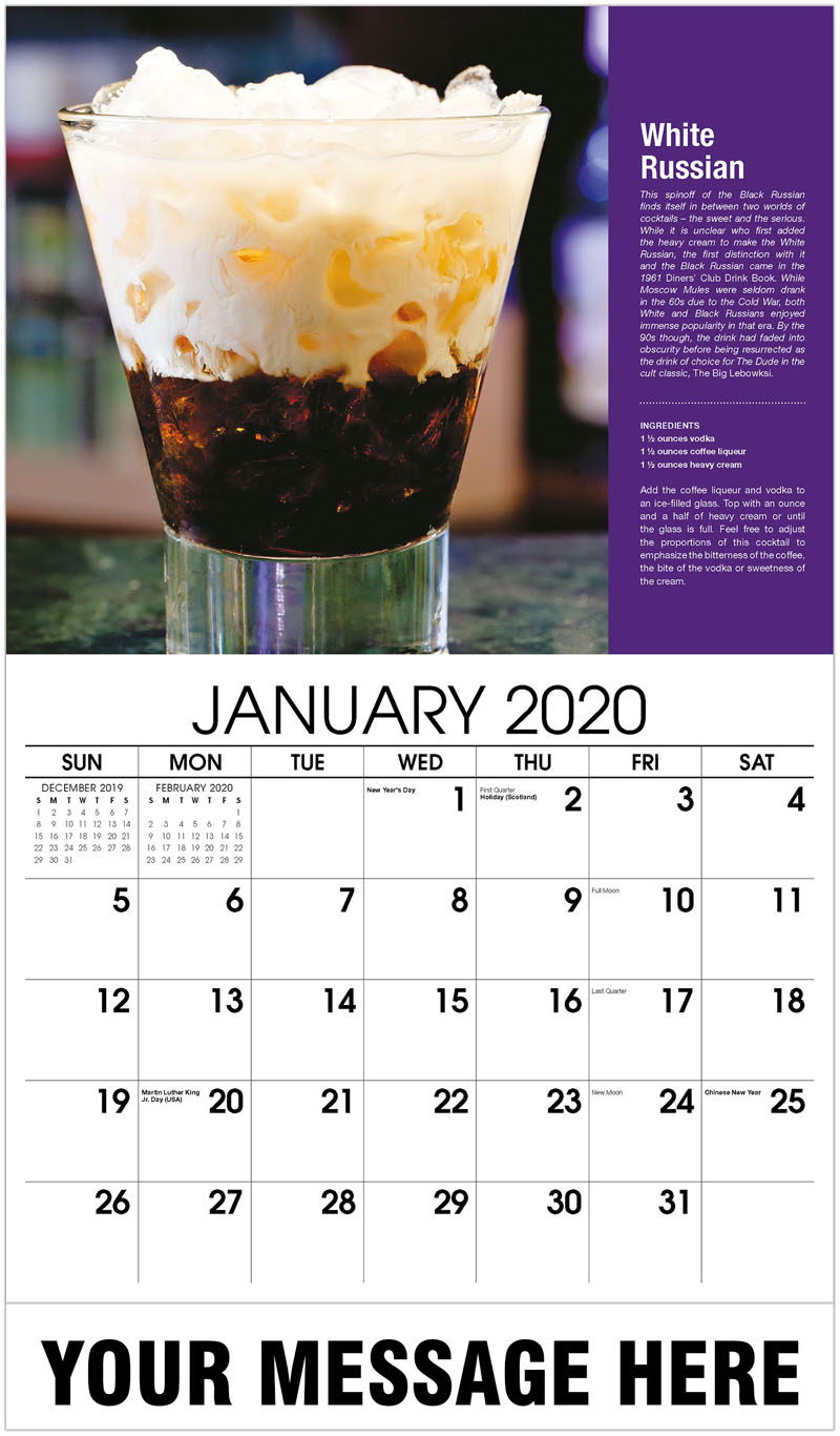 2020 Promotional Calendar - White Russian - January