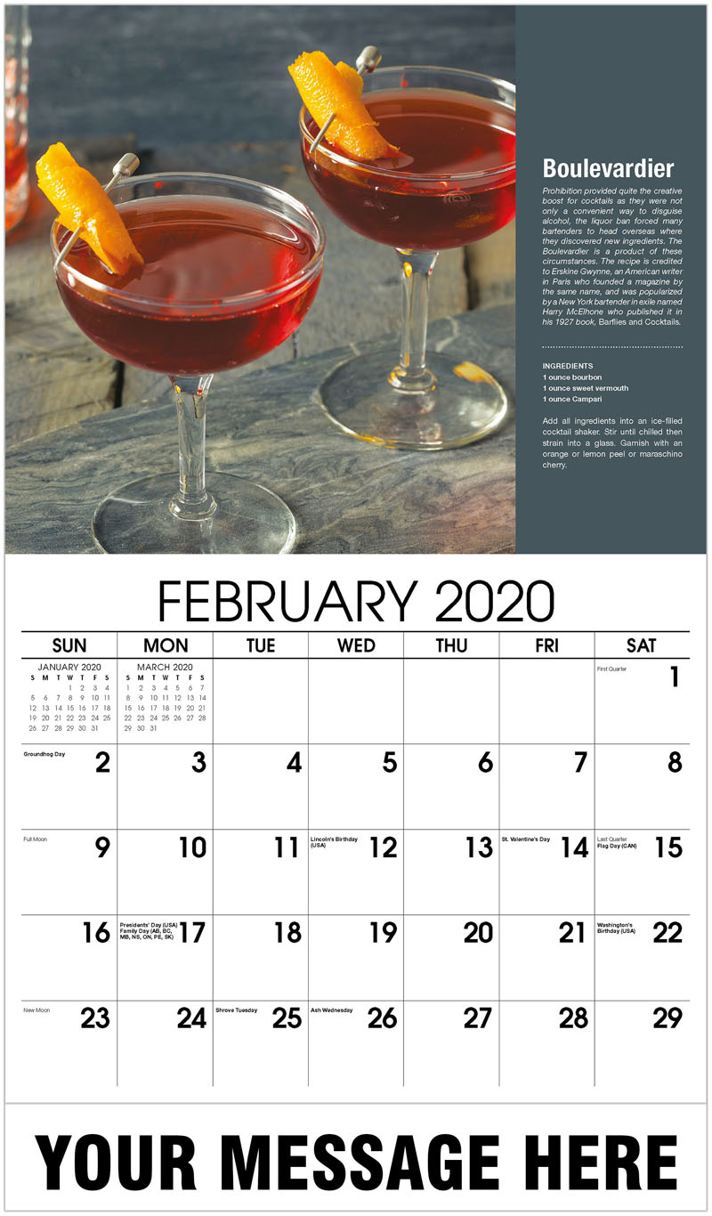 2020 Promotional Calendar - Boulevardier - February