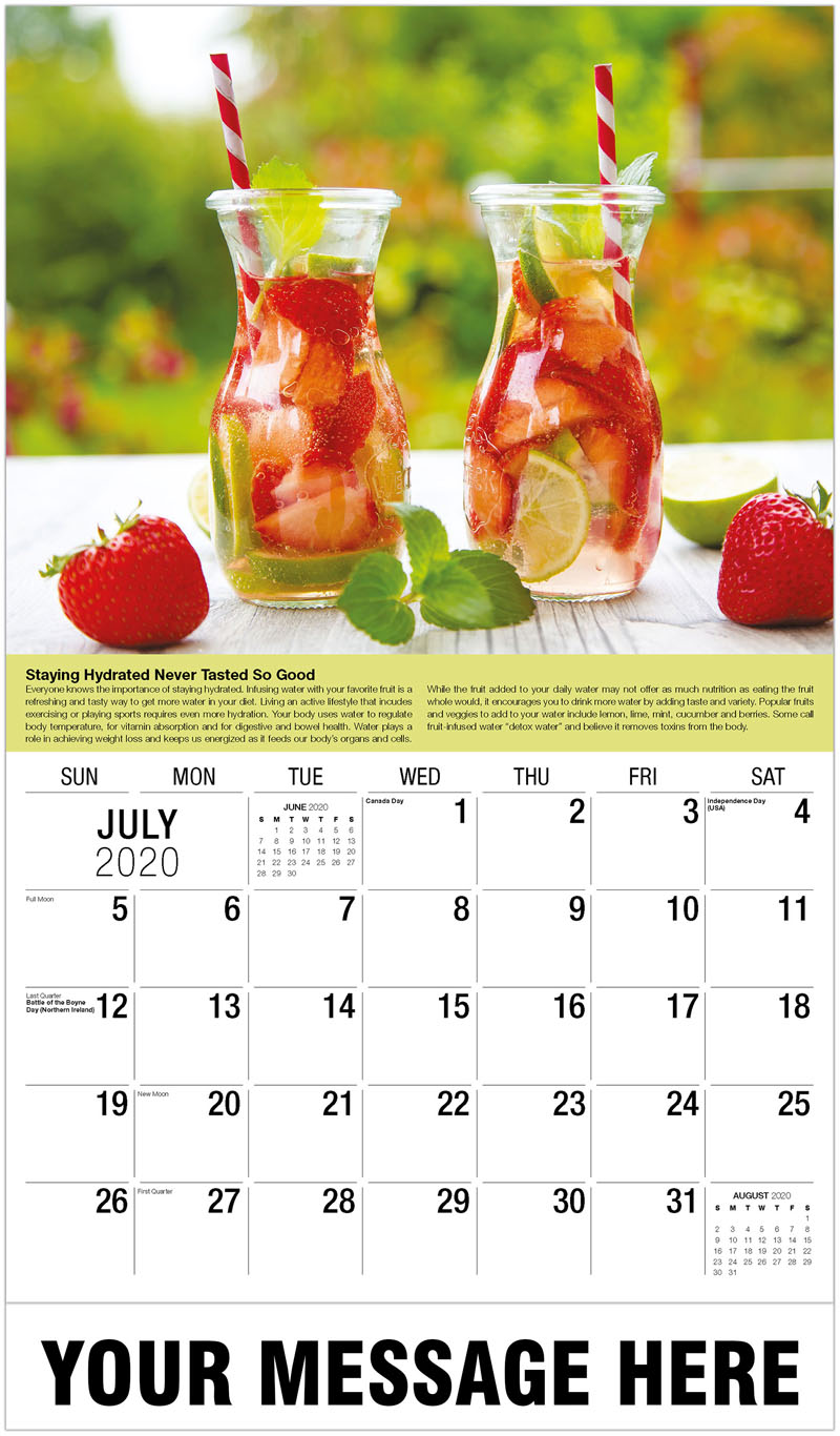 2020 Business Advertising Calendar - Two Fruit Drinks - July