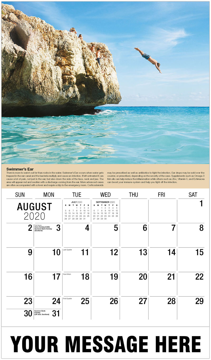 2020 Business Advertising Calendar - Man Diving - August