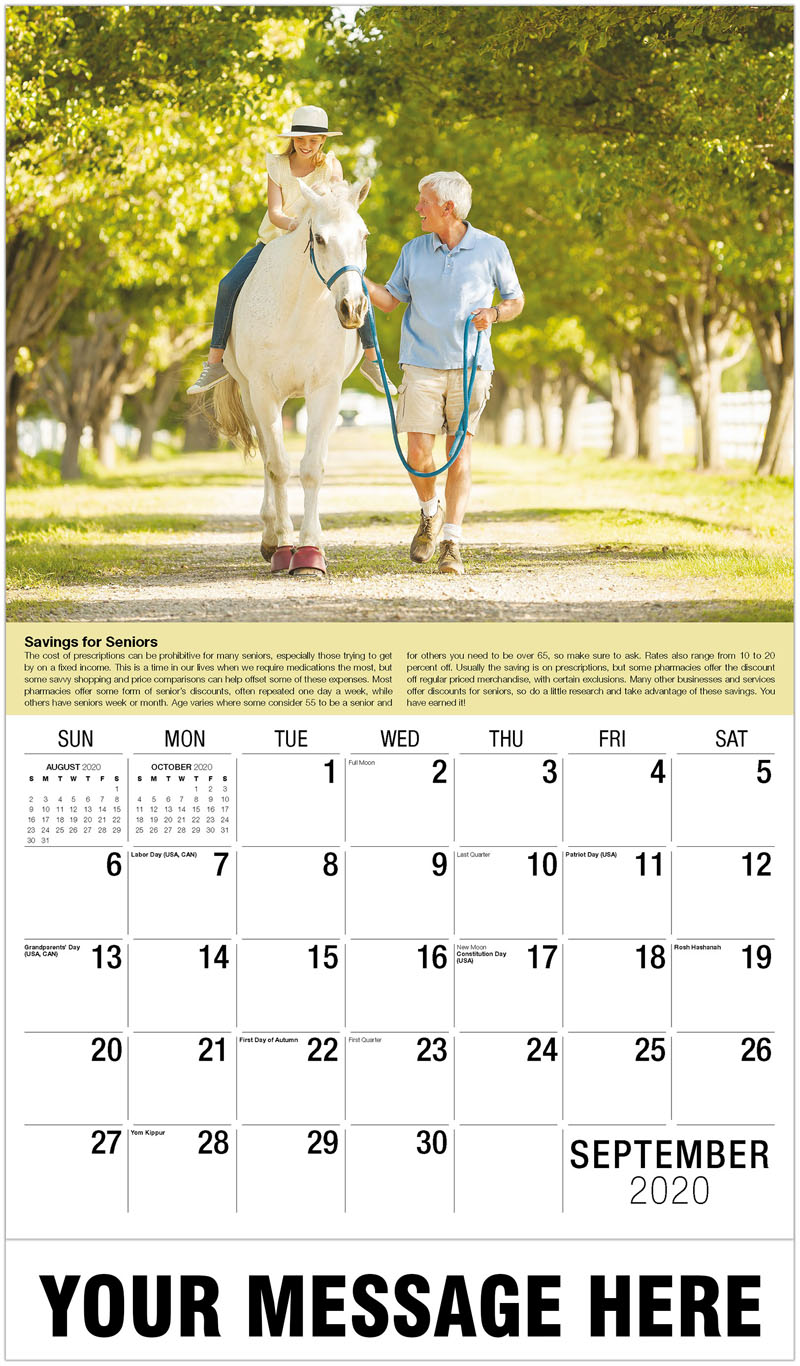 2020 Business Advertising Calendar - Girl On Horse - September