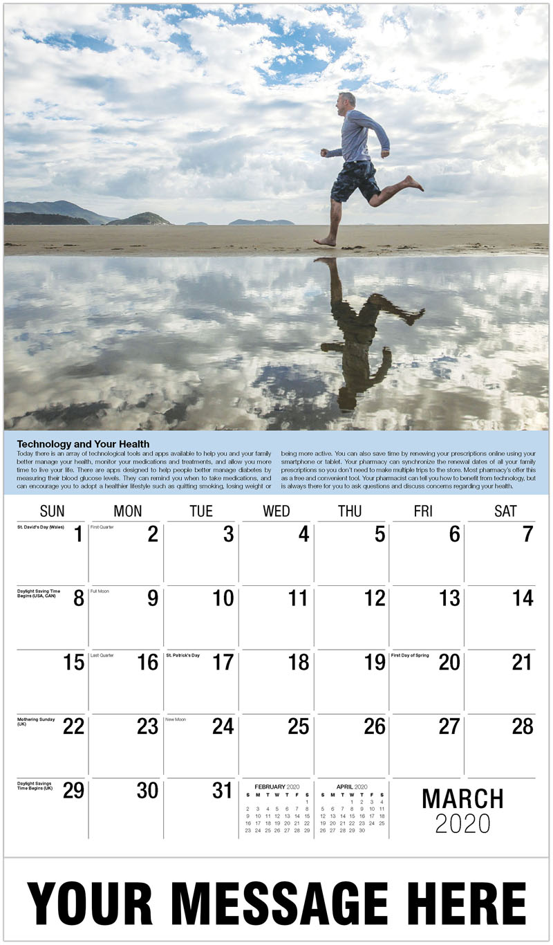 2020 Promo Calendar - Man Running On Beach - March