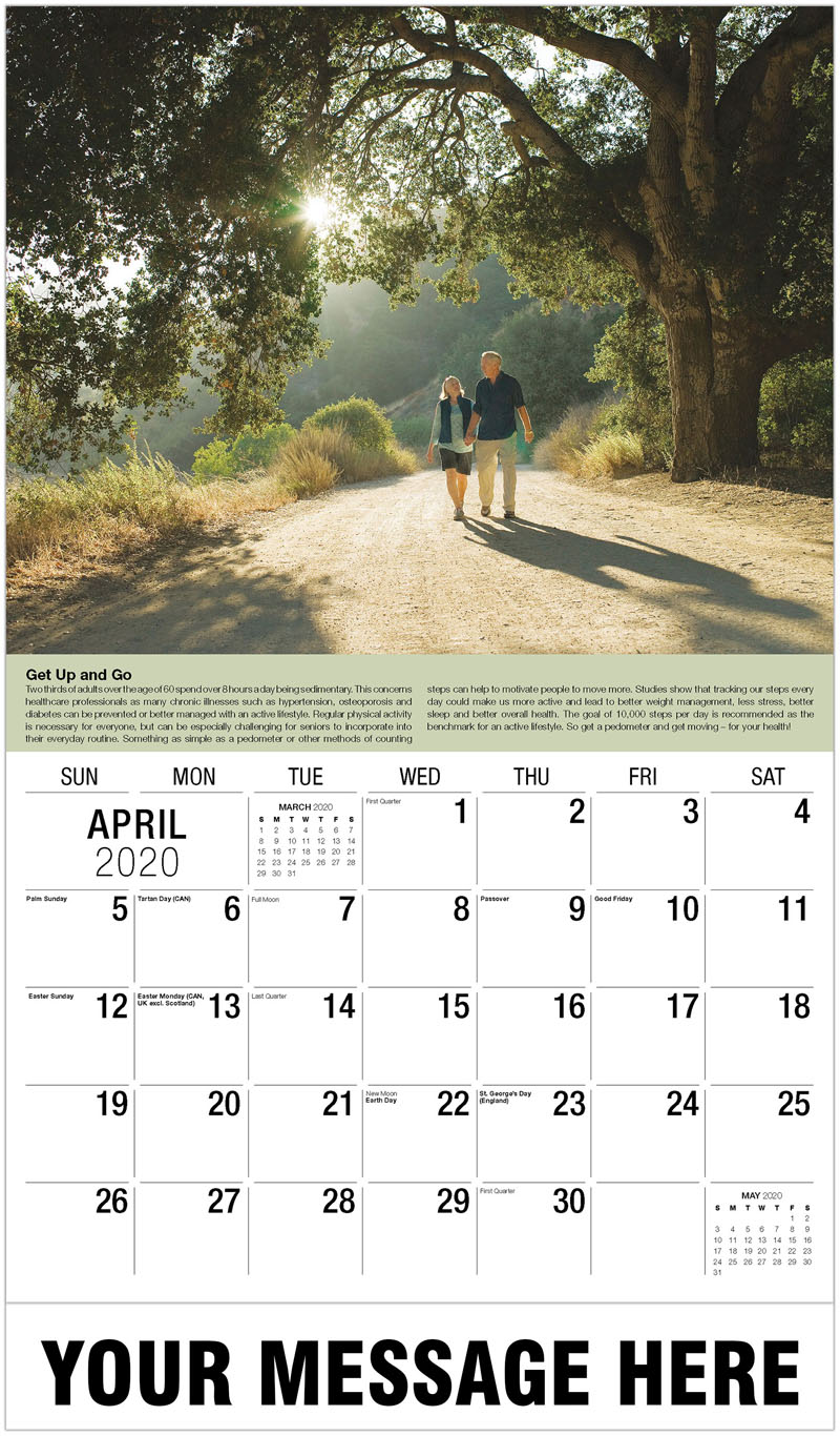 2020 Promo Calendar - Man And Lady Walking - April