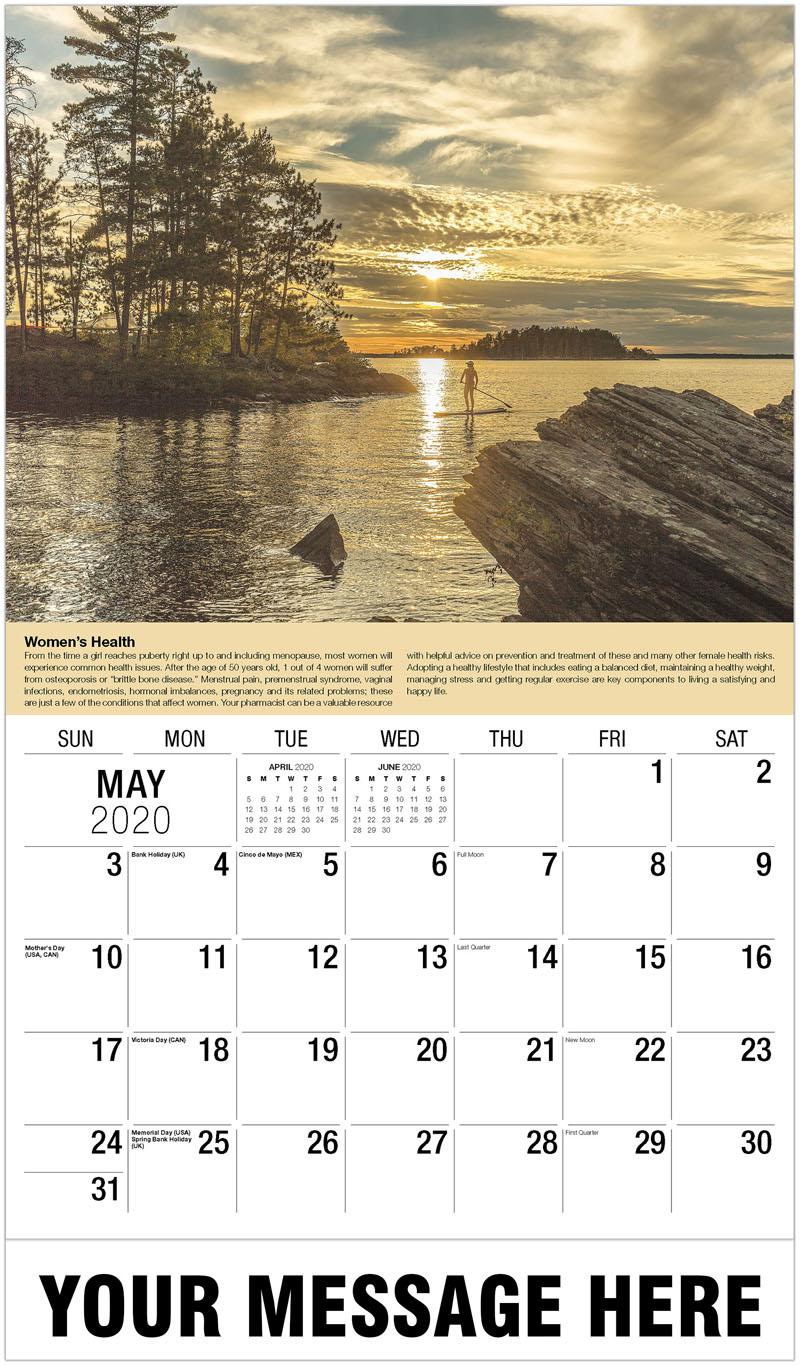 2020 Promo Calendar - Lady Riding Surf Board - May