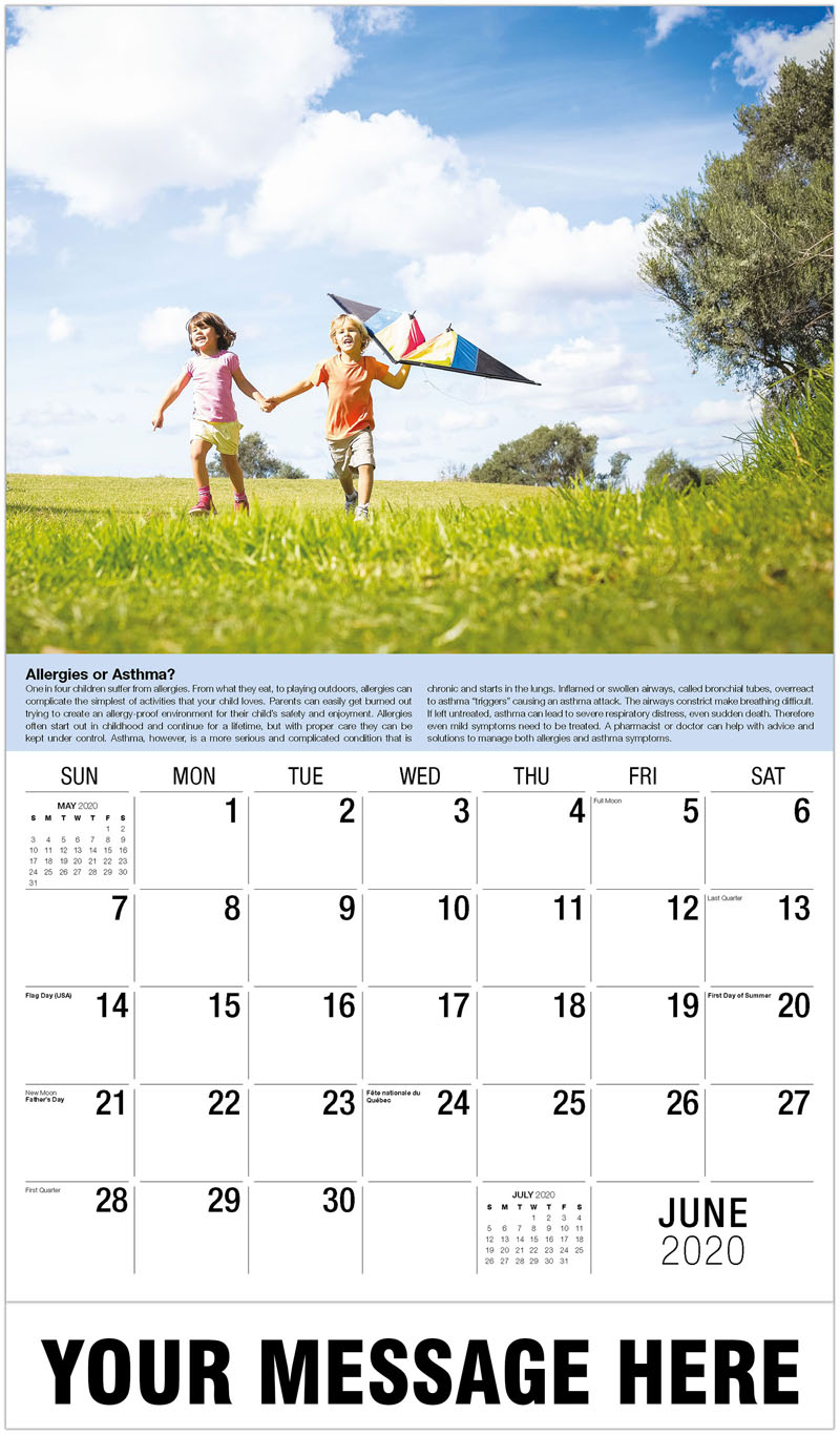 2020 Promo Calendar - Kids Running With Kite - June