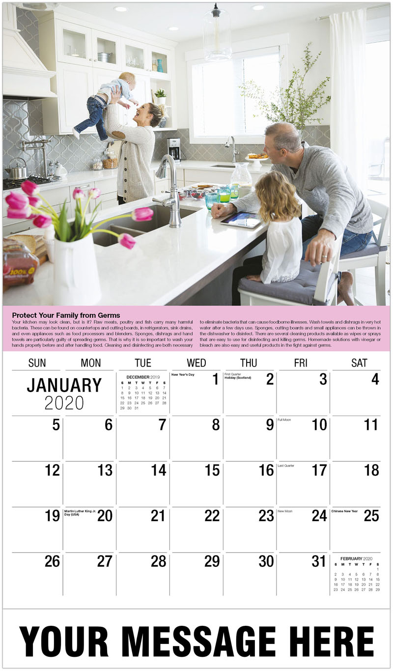 2020 Promotional Calendar - Family In Kitchen - January