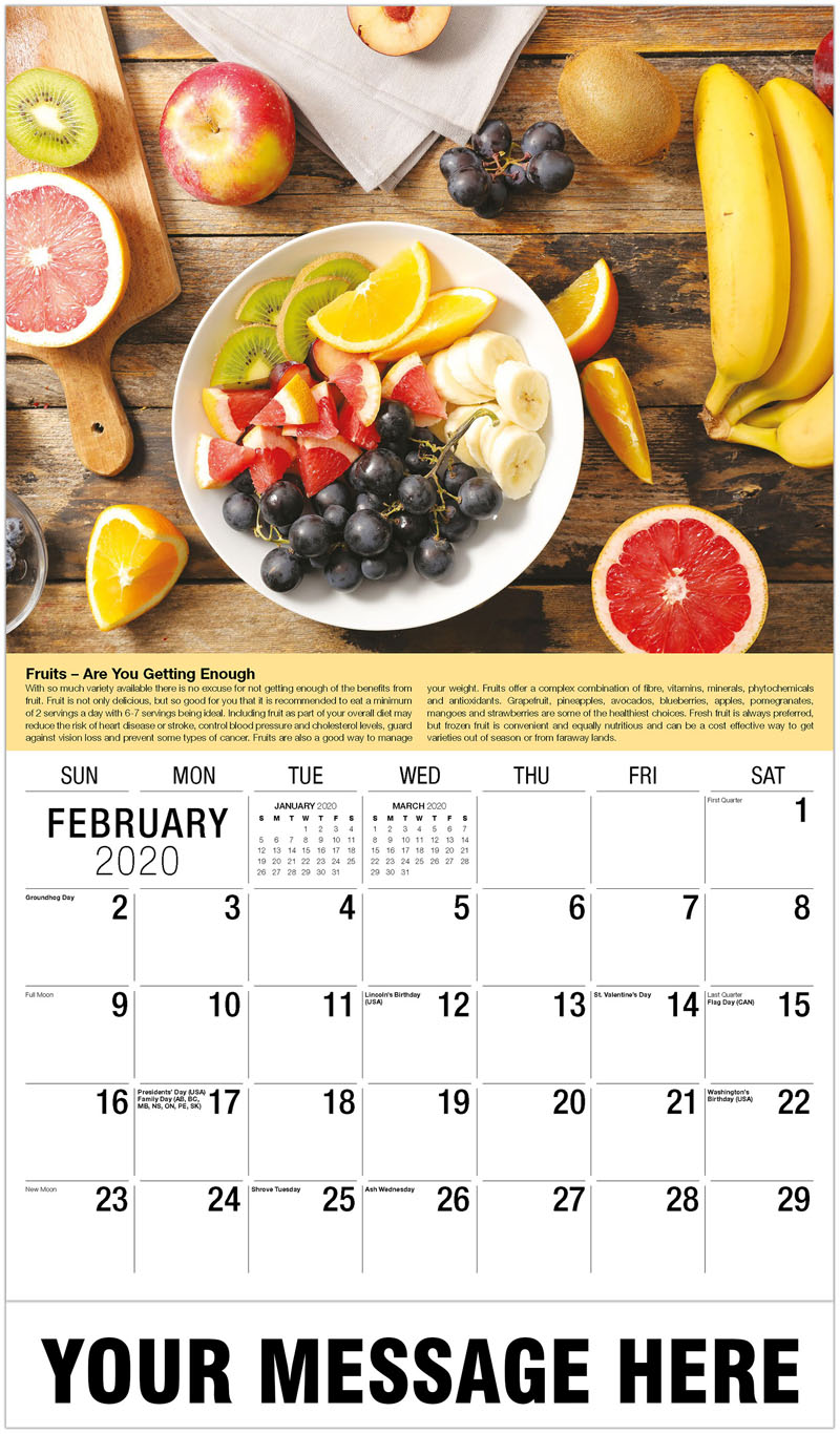 2020 Promotional Calendar - Table Of Fruit - February