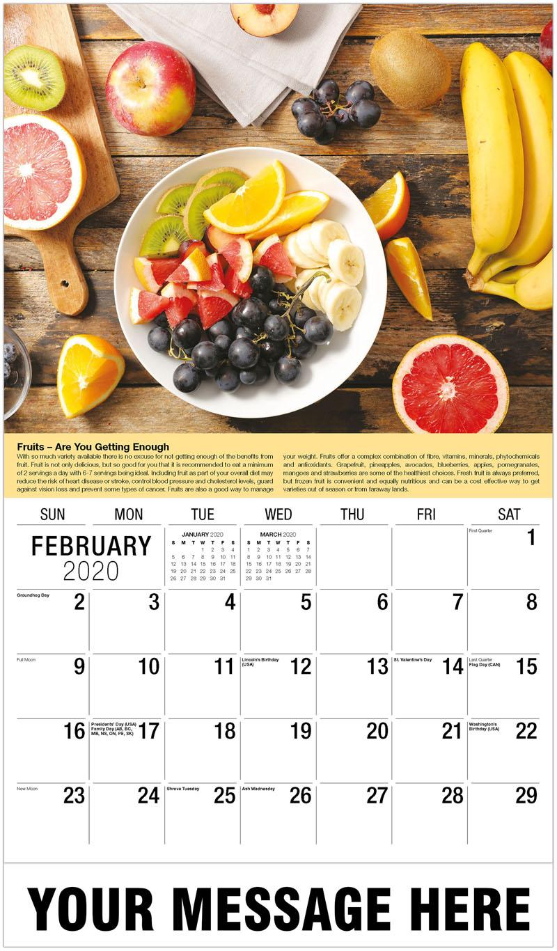 2020 Promotional Calendar - Table Of Fruit - February