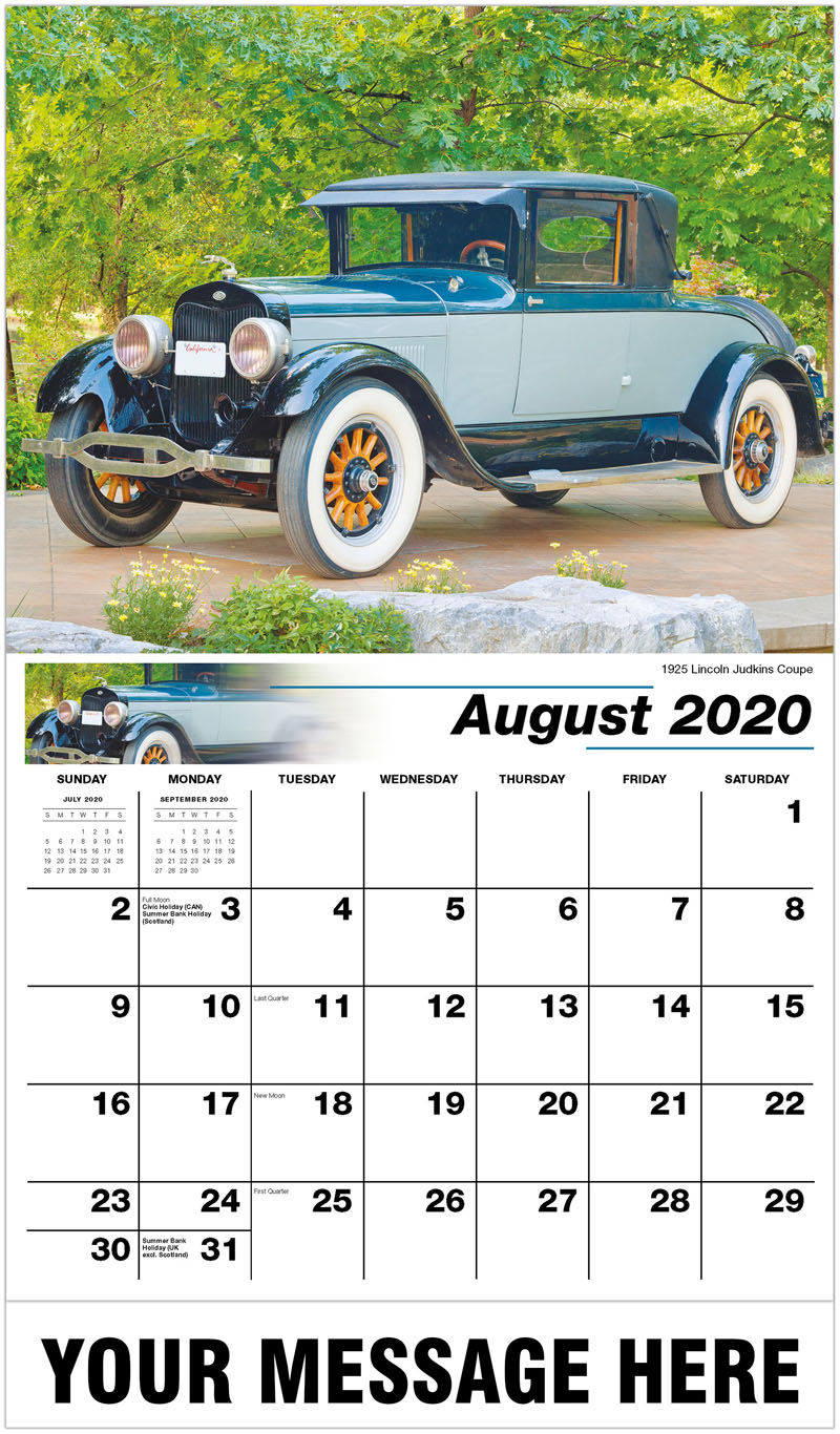 2020 Business Advertising Calendar - 1925 Lincoln Judkins Coupe - August