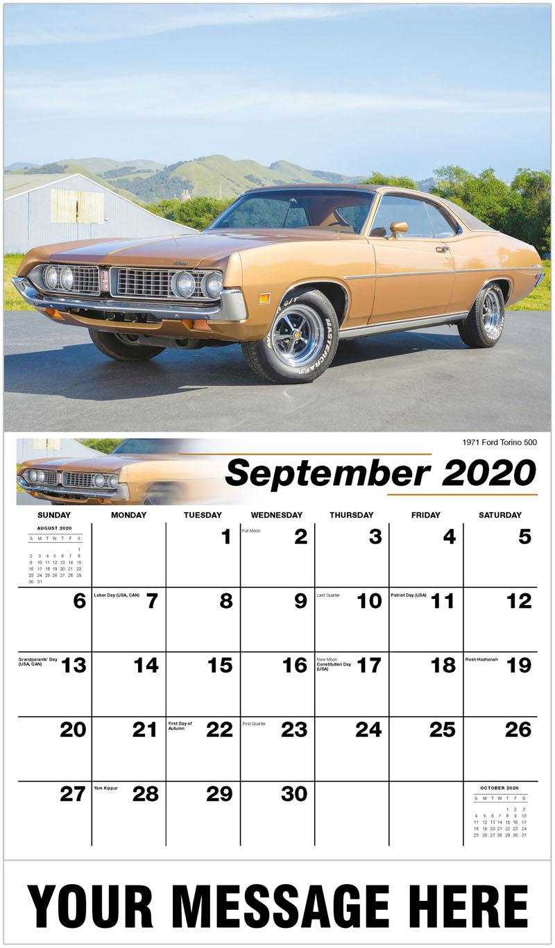 2020 Business Advertising Calendar - 1971 Ford Torino 500 - September