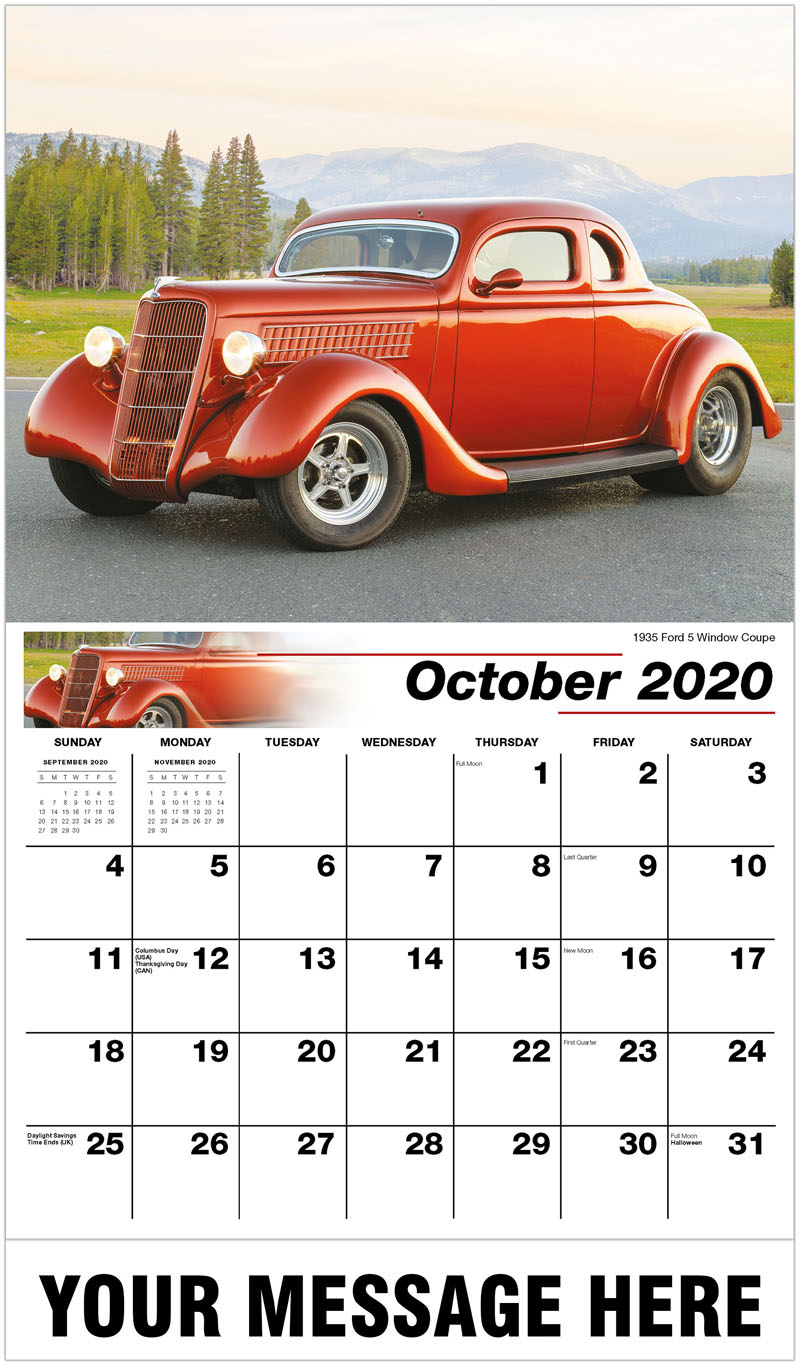 2020 Business Advertising Calendar - 1935 Ford 5 Window Coupe - October
