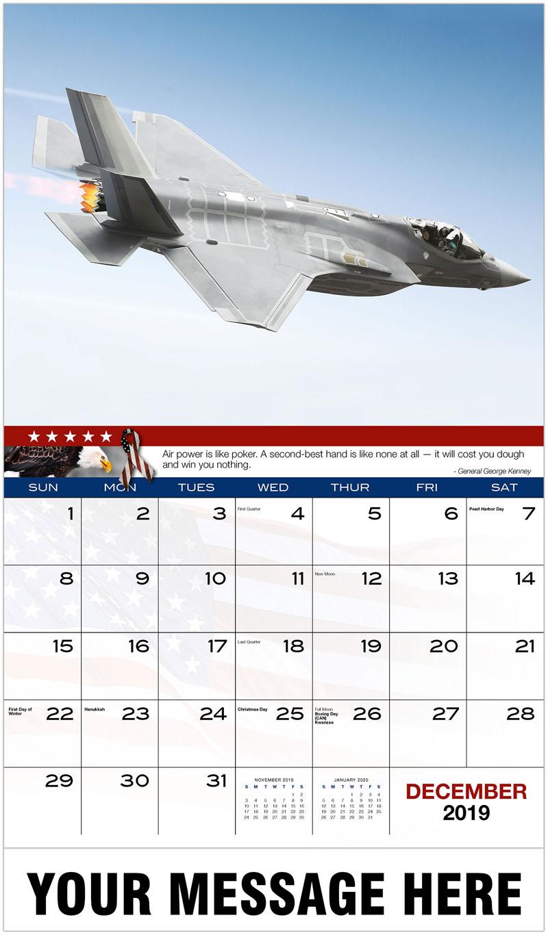2020 Advertising Calendar - F35 Fighter Jet - December_2019