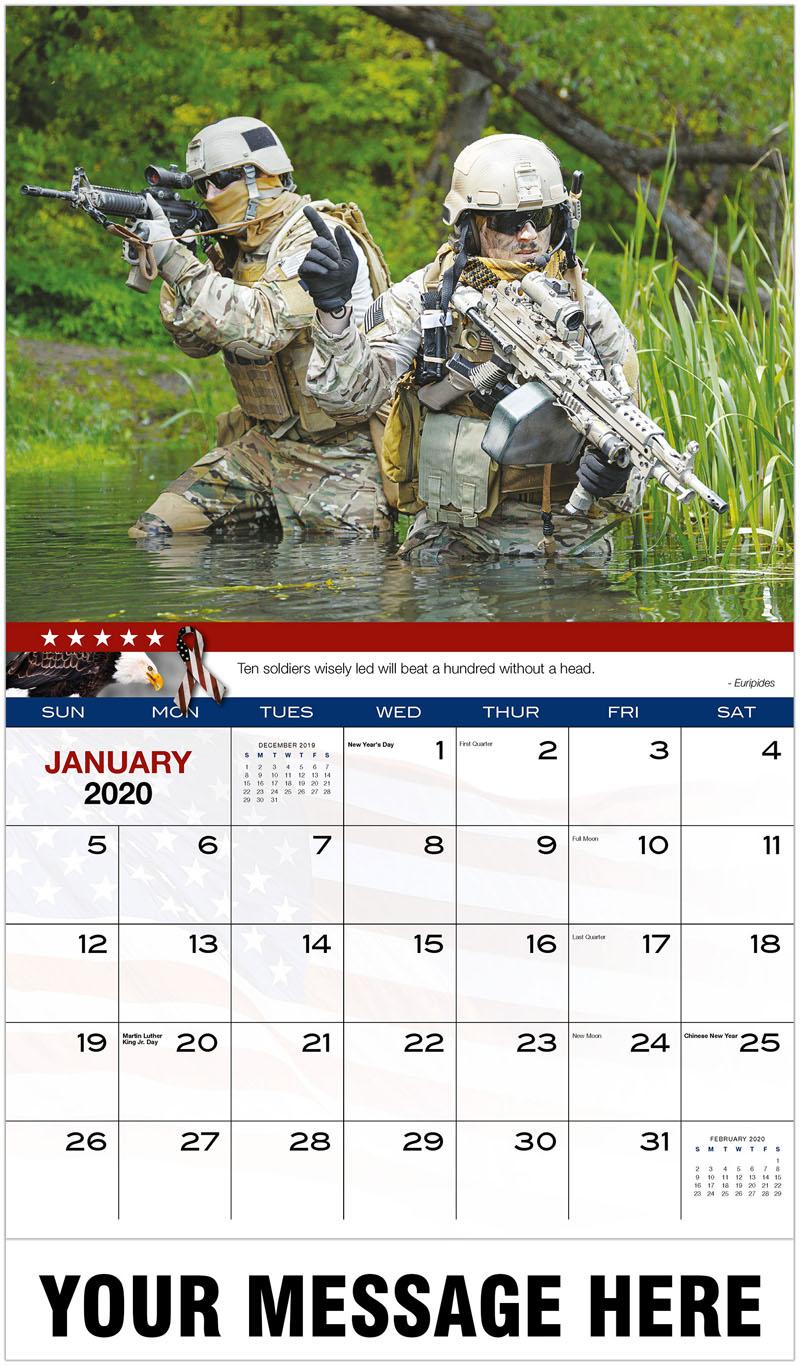 2020 Advertising Calendar - 2 Soldiers In Water - January