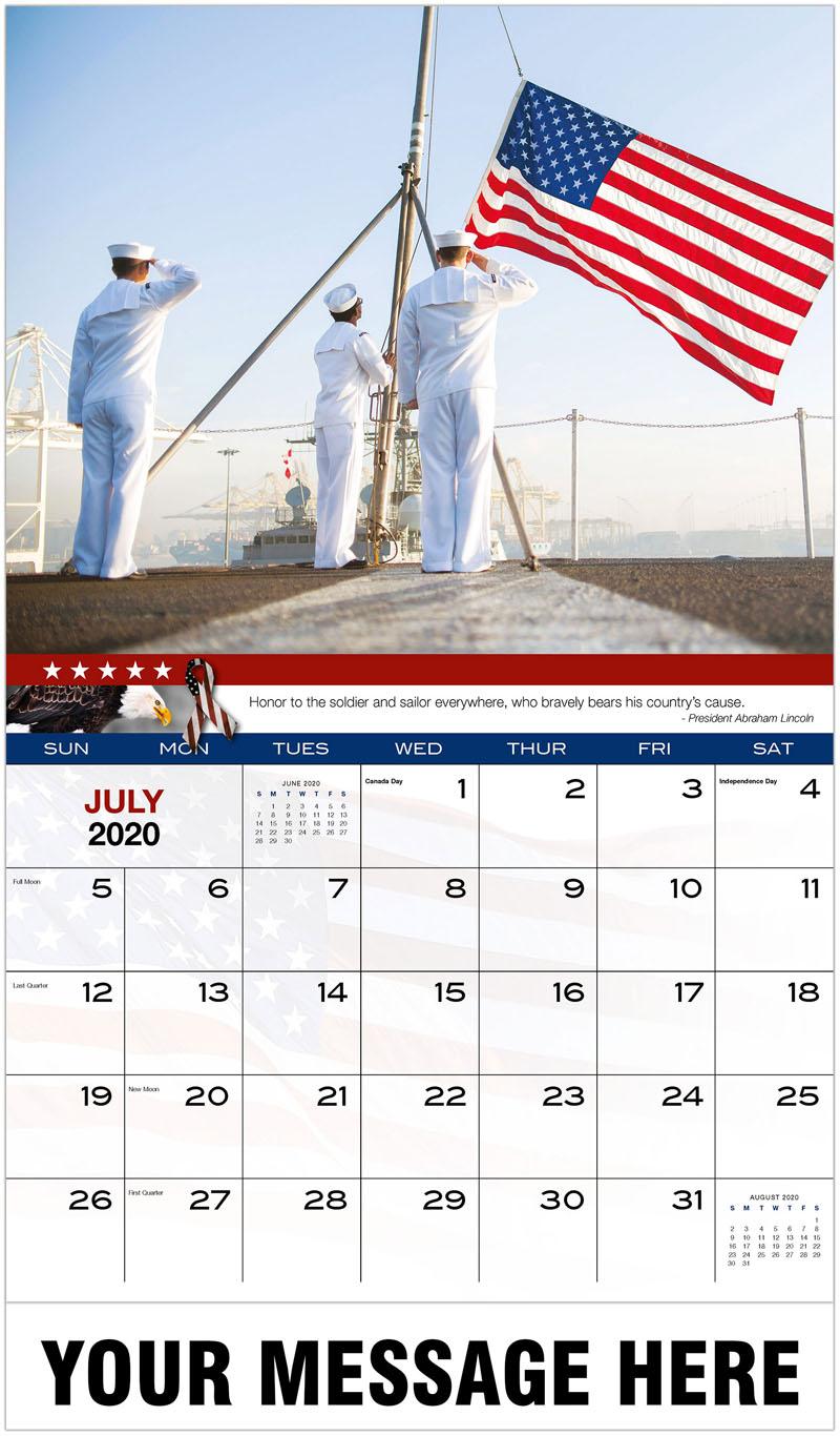 2020 Business Advertising Calendar - Flag Raising - July