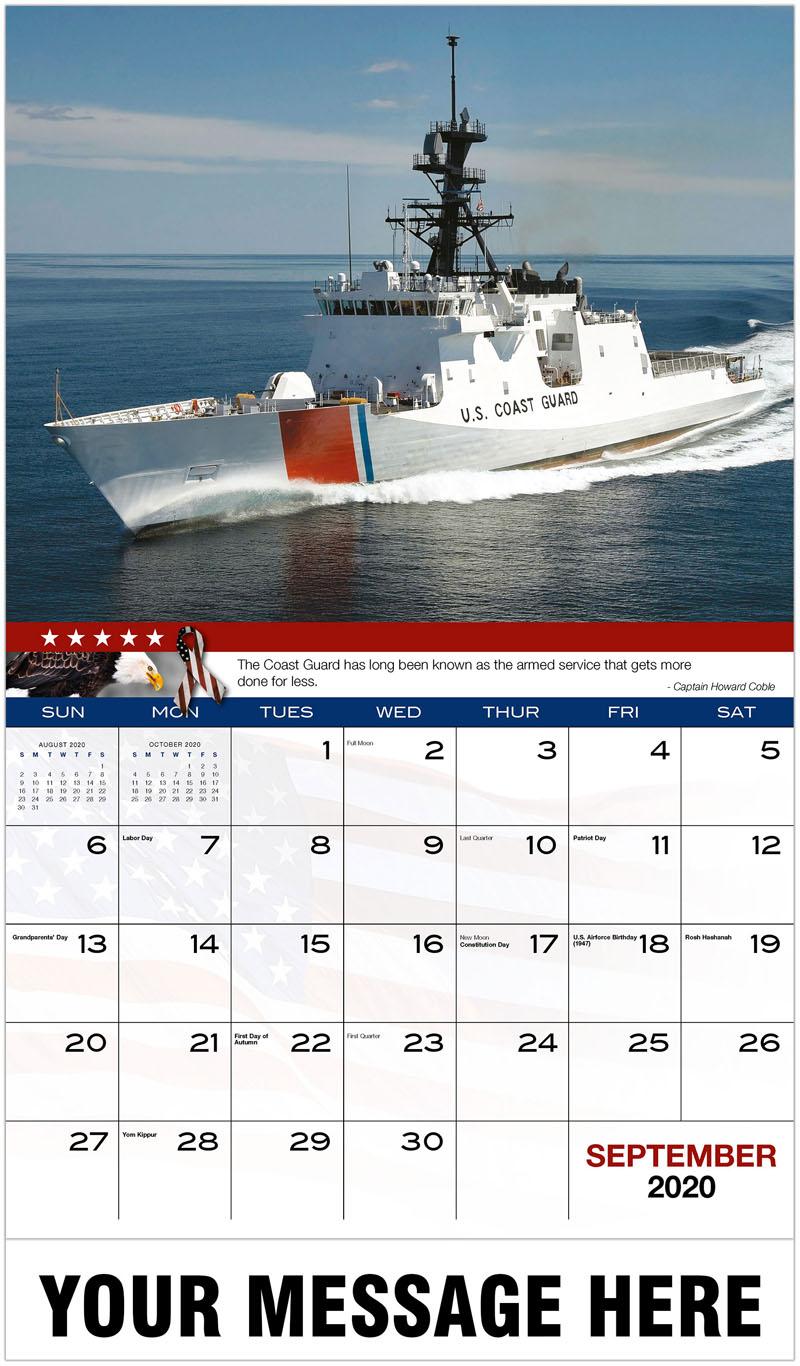 2020 Promo Calendar - Coast Guard Ship - September