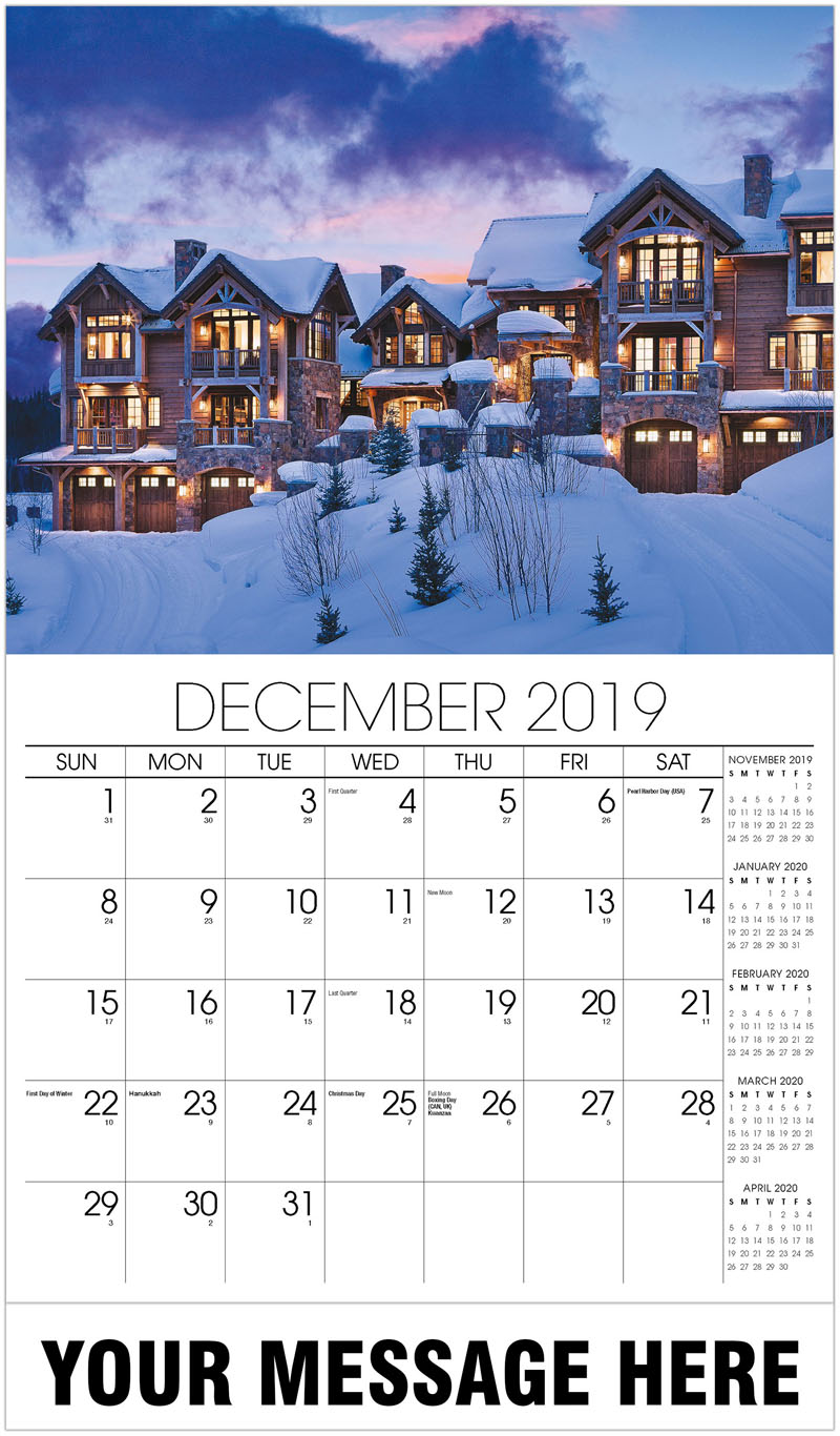 2020 Advertising Calendar - Mansion Covered In Snow - December_2019