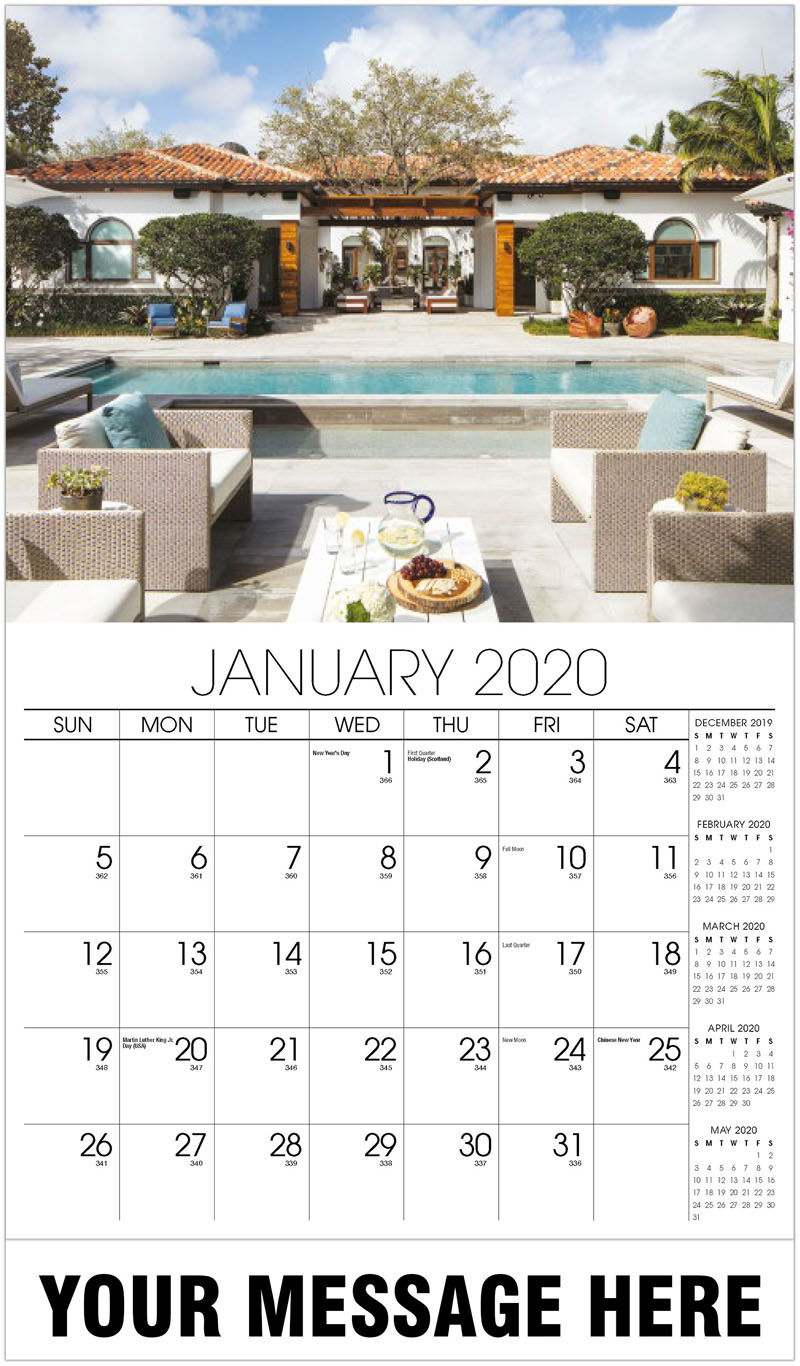 2020 Advertising Calendar - Spanish House With Pool - January