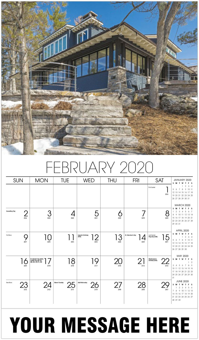 2020 Advertising Calendar - House With Snow On Steps - February