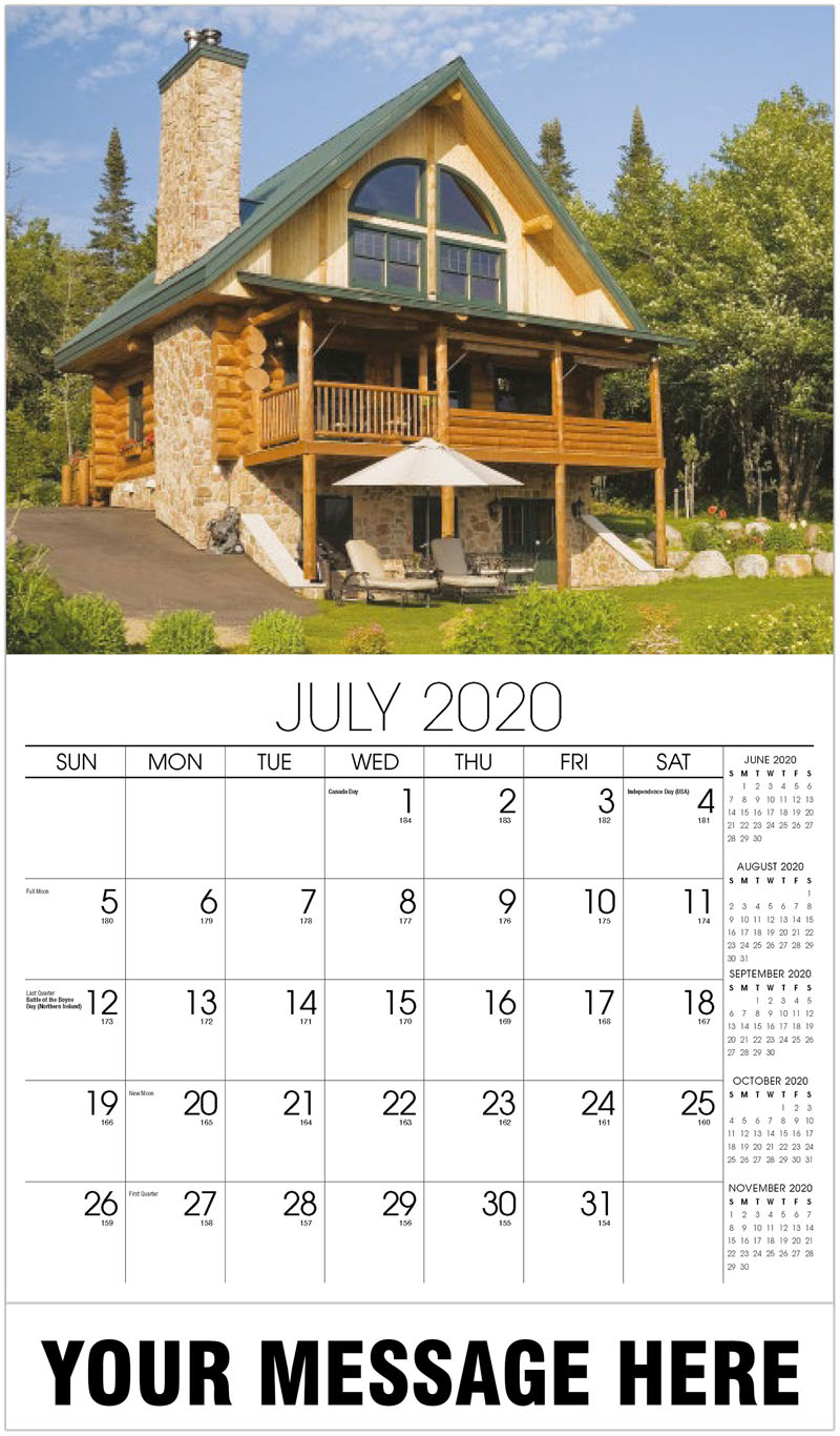 2020 Business Advertising Calendar - Log Home - July