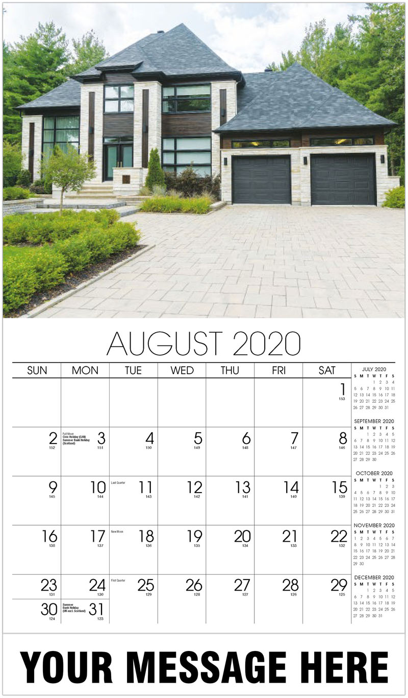 2020 Business Advertising Calendar - House With Black Trim Roof Garage Doors - August