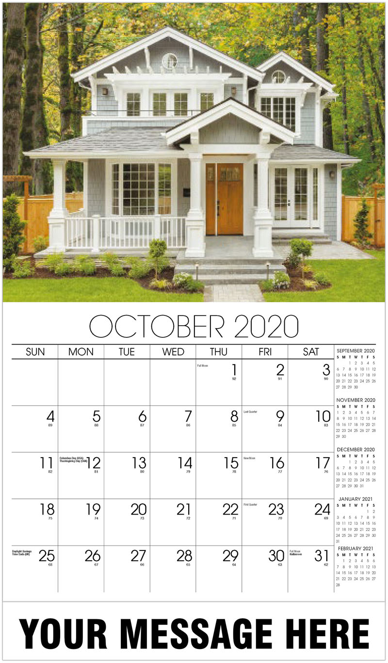 2020 Promo Calendar - Small House With White Trim - October