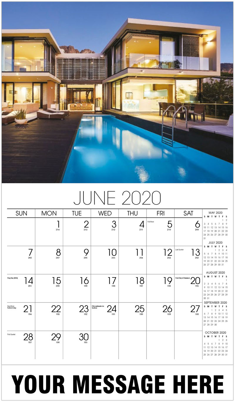 2020 Promotional Calendar - Comtemporary House With Pool - June