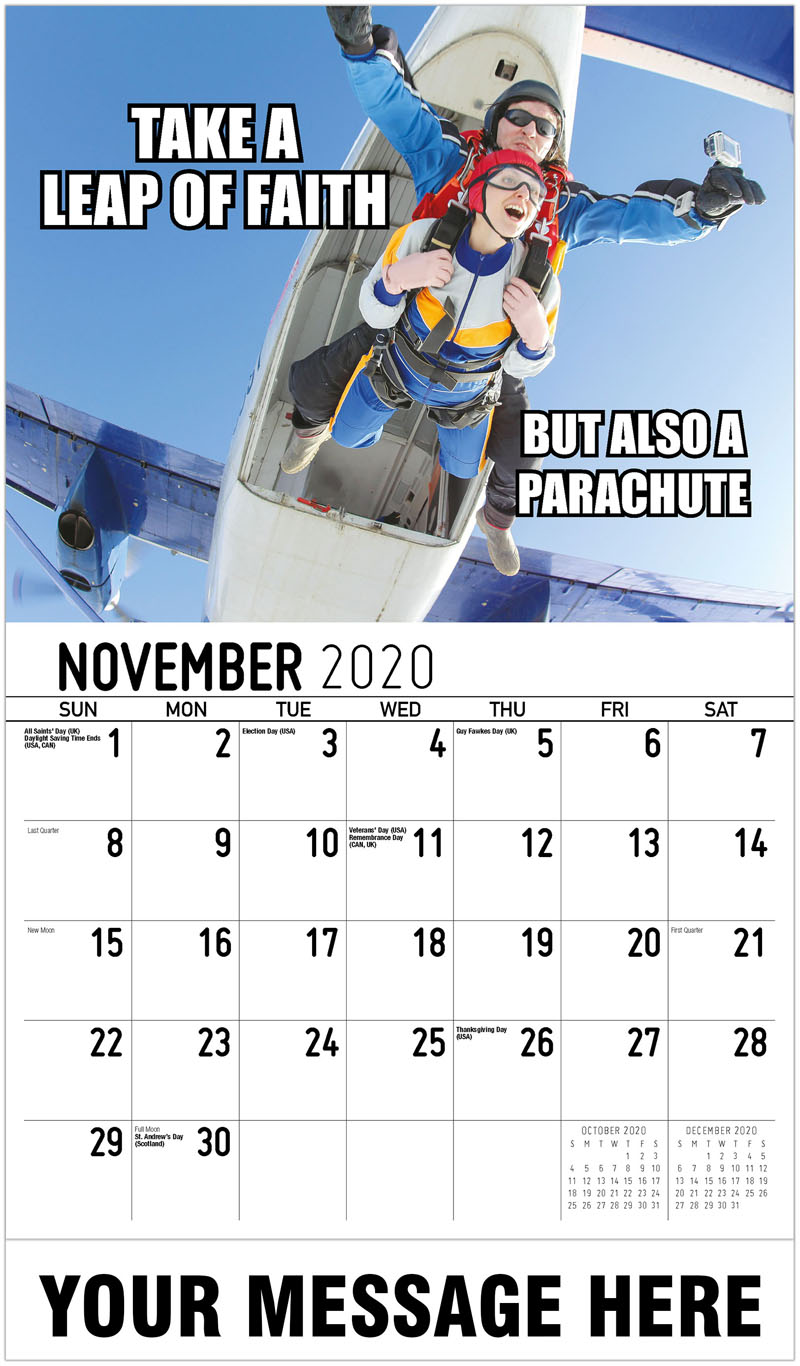 2020 Advertising Calendar - Take A Leap Of Faith But Also A Parachute - November